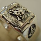MASONIC SKULL AND PILLARS FREIMAURER SILVER 925 RING
