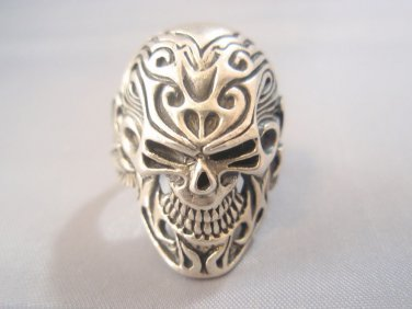 Sterling Silver Ring 925 Sugar Skull Flowers Tattoo Wings Ring Unique