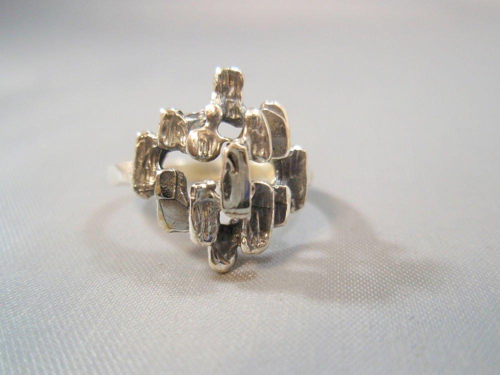 Israel Delini Designers Art Modern Rectangle Solid Silver Sterling Ring