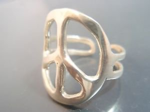 925 Sterling Silver woodstock 1969 Peace Symbol Sign Ring