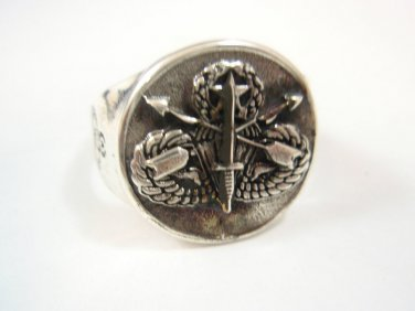 Old SPECIAL FORCES AIRBORNE RING STERLING SILVER 925 Vietnam 1961-75