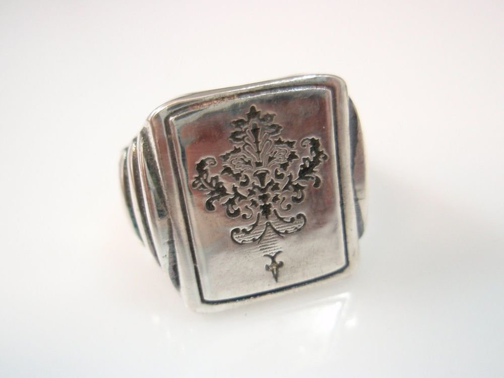 Victorian signet Ring Solid Sterling Silver 925 by EZI ZINO
