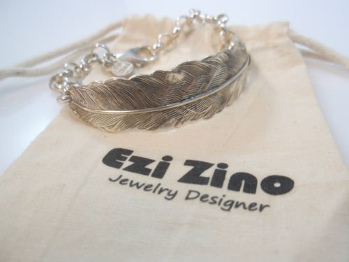 Ezi Zino Jewelry Designer rolo chain Feather Bracelet Solid Sterling Silver 925