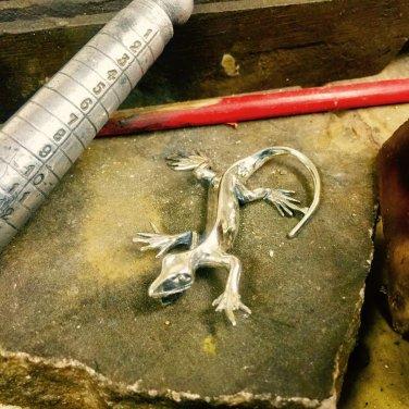 Solid Sterling Silver 925 big Lizard Pendant