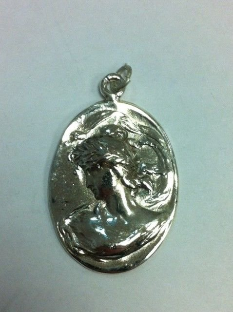Solid Sterling Silver 925 Oval Vintage Antique Cameo Lady Head Pendant