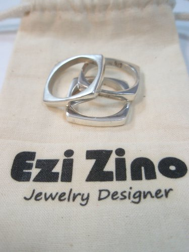 ezi zino designer Set of Three Square shape Stacking Rings sterling silver 925
