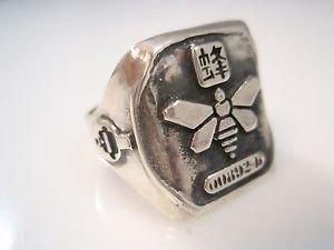 Breaking Bad Yellow Methamphetamine bee logo ring sterling silver 925