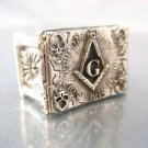 Ezi Zino masonic 4 skulls and pillars freimaurer ring solid sterling silver 925