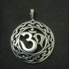 ORNATE STERLING SILVER CELTIC OM OHM AUM YOGA PENDANT