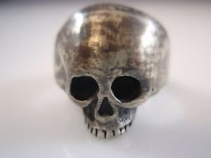 Ezi Zino Crack Skull ring sterling silver Blackened oxide Used style Jewelry 925