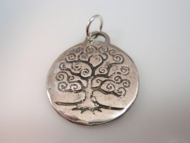 Antique tree of life round pendant Solid Sterling Silver 925