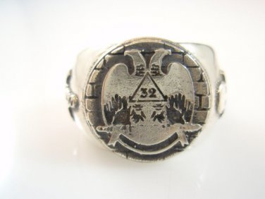 STERLING SILVER 32 degree masonic free mason RING Freemasonry Jewelry any size