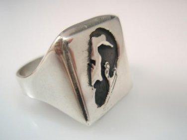 Sigmund Freud Portrait Shadow Woman ring sterling Silver 925