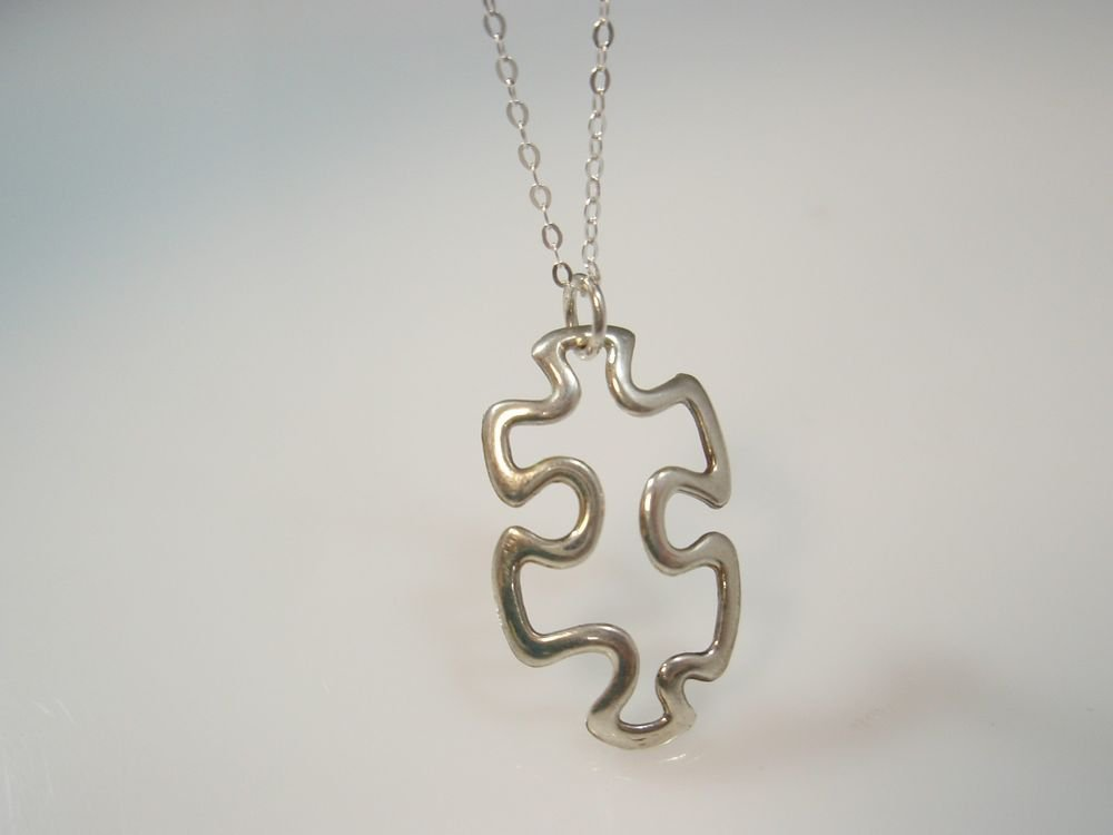 """PUZZLE Piece Necklace in STERLING SILVER 925  CHARM AUTISM NECKLACE """""""