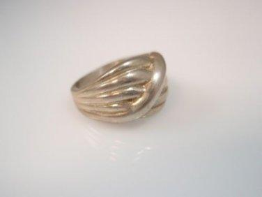 Vintage Puffy Scalloped Stripe Sterling Silver 925 ring