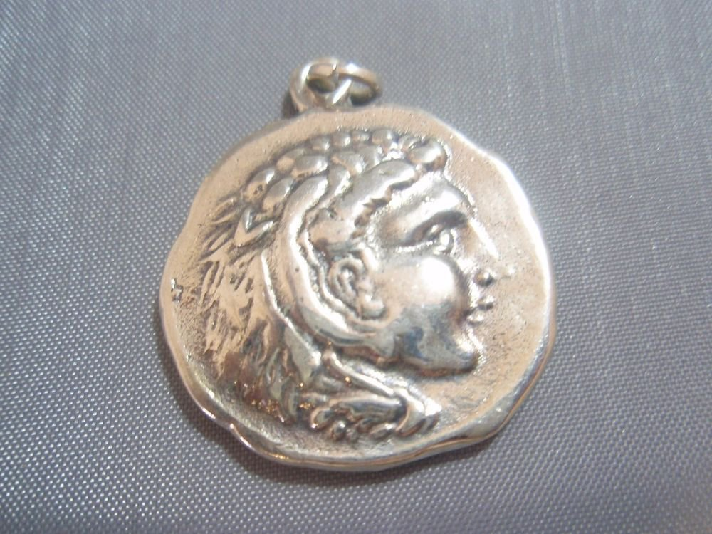Alexander Great Greek Coin Normal Size Pendant Sterling Silver 925