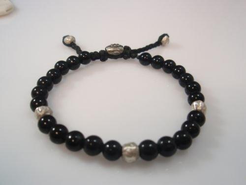 Ezi zino Jewelry Designer sterling silver 925 Onyx Beads 6mm Bracelet