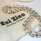 Ezi Zino Designer Jewelry  Sterling Silver 925 box chain bracelet Black Diamonds