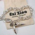 Ezi zino sterling silver 925 Mans Bracelet TEETH ALLIGATOR EMBOSSED Crocodile