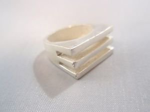Israel Delini Designers Hand Made Art Modern Straight Lines Silver Sterling ring