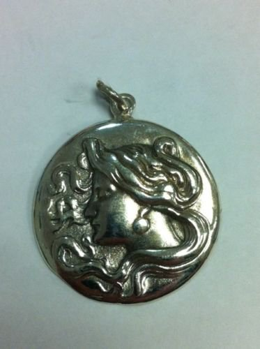 Solid Sterling Silver 925 Vintage Cameo Lady Head Pendant