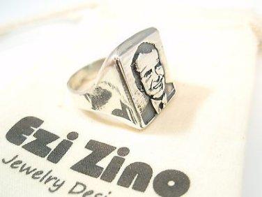 President Richard Milhous Nixon Portrait Ring Sterling Silver 925 by EZI ZINO