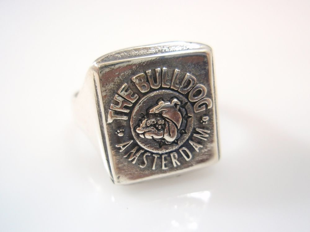 The Bulldog Cafe Amsterdam Holland Coffee Shop Ring Sterling Silver 925