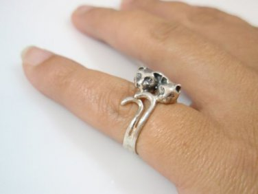 cat ring solid sterling silver 925 - Animal pet ring two cat ring