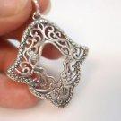 BIG Hamsa Kabbalah Filigree Fatima Hamsa Hand Sterling Silver 925 Pendant