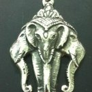 Hindu 3 headed elephant lucky luck Pendant Necklace 3d SOLID STERLING SILVER 925