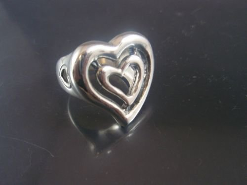 SOLID Sterling Silver 925 Heart love Lovers Hearts Shape Stylish Fashion RING