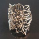 Sterling Silver Ring 925 Fabric Lace Flowers Ring