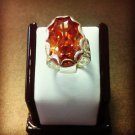 Solid Sterling Silver 925 Orange Rainbow Topaz Oval Ring