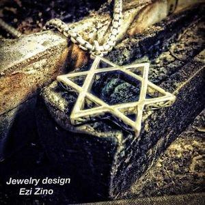 STAR OF DAVID FLOWERING JEWISH PENDANT STERLING SILVER 925 SILVER BY EZI ZINO