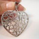 big Multi Heart Lace lovers Pendant Sterling Silver 925
