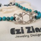 Ezi zino sterling silver 925 star of david Turquoise natural Beads 6mm Bracelet