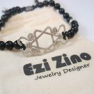 Ezi zino sterling silver 925 star of david Onyx Beads 6mm Bracelet