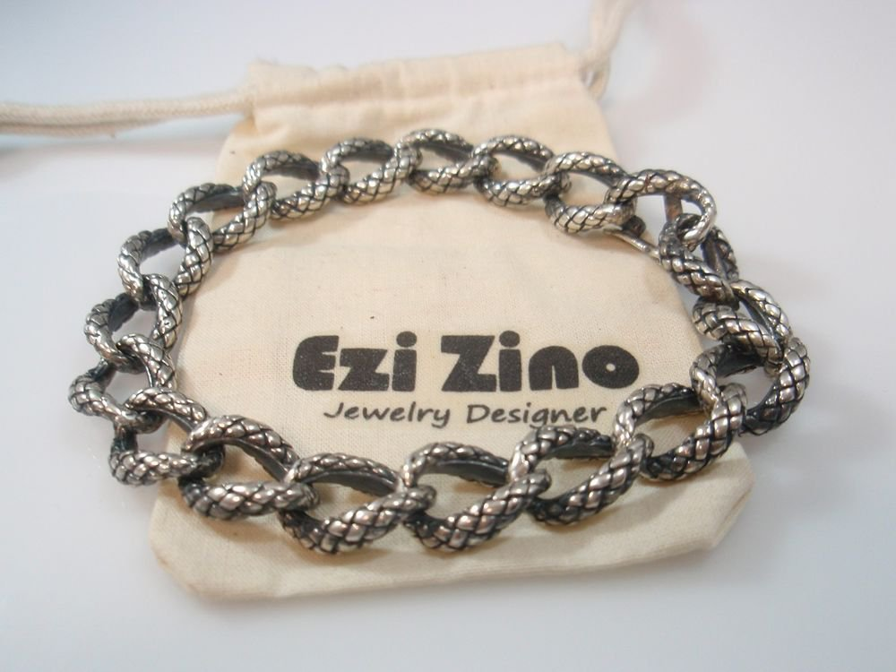 Ezi Zino Designer Jewelry Heavy Dragon  Bracelet Solid Sterling Silver 925