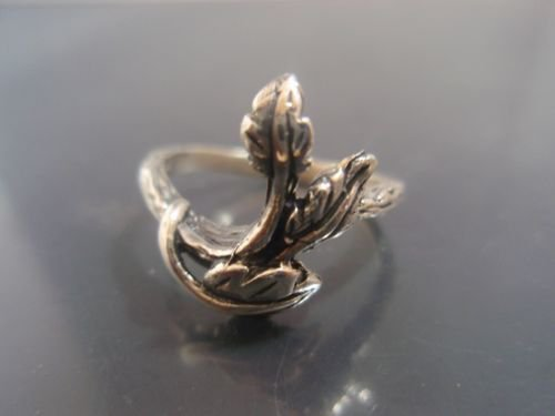 Israel Delini Designers Hand Made Art Branch with Leaves  Silver Sterling ring
