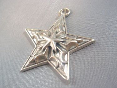 Sterling Silver 925 BIG Charm Decorated Star North Pendant
