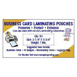 Business Card Laminating Pouches 7 MIL (50 Pack)