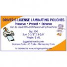 Driver's License or ID Laminating Pouches 5 MIL (100 Pack)