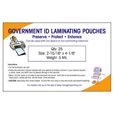 Government ID Laminating Pouches 5 MIL (25 Pack)