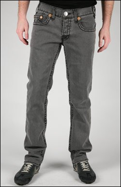 TRUE RELIGION LOGAN STRETCH JEAN IN LIGHT GREY