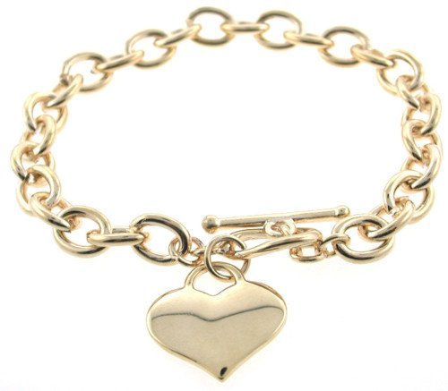Heart toggle bracelet 14 carat gold layered