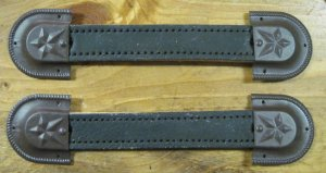 2 leather trunk handles and ends