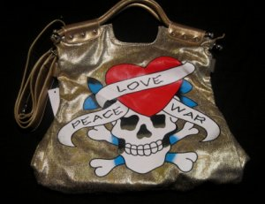 Skull Crossbones Tattoo Gold Handbag