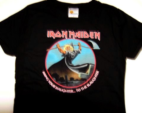 Iron Maiden Bring Daughter Girly Tee Size Small