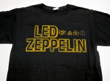 Led Zeppelin Gold Runes UK Tour Tshirt Size X-Large