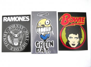 Punk Rock Sticker Set David Bowie, Ramones, Green Day